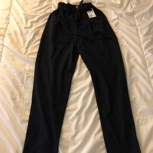 Striped H&M paper bag pants with tags